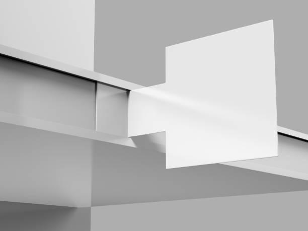 PVC blanc impression Talker plateau en plastique pour la Promotion du centre commercial. illustration de rendu 3D. - Photo