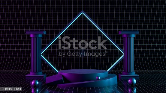 istock 3D Blank product stand with neon lights on black background 1164411134