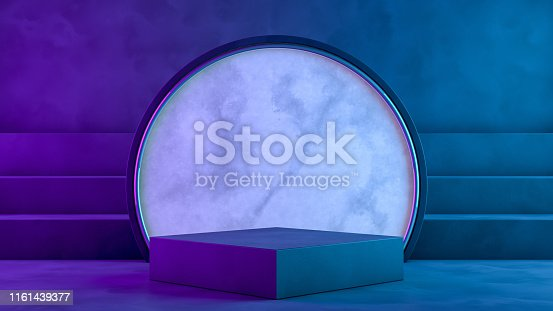 istock Blank product stand with neon lights on dark background 1161439377