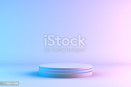 istock Blank product stand with neon lights 1129051558