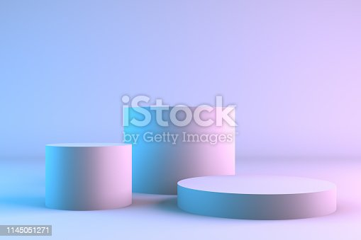 istock Blank product stands with neon lights 1145051271
