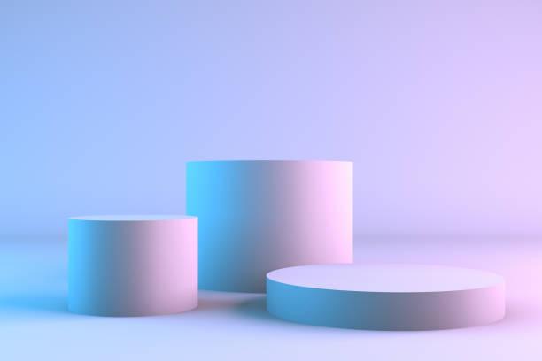 blank produkt stativ med neonljus - piedestal bildbanksfoton och bilder