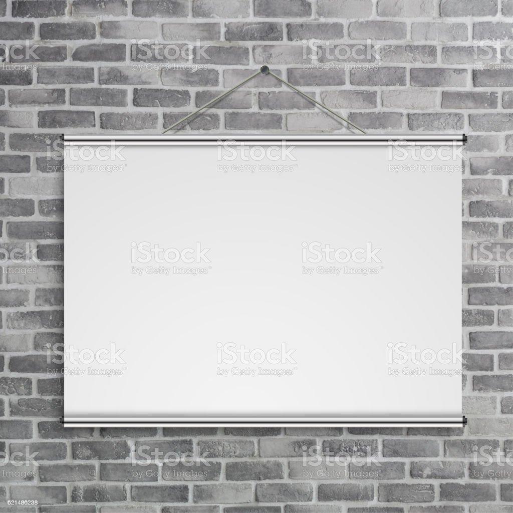 blank projector scree on birck wall foto stock royalty-free