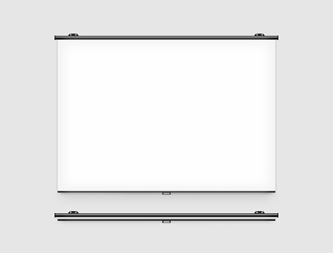 istock Blank projector screen mockup on the wall 593318046