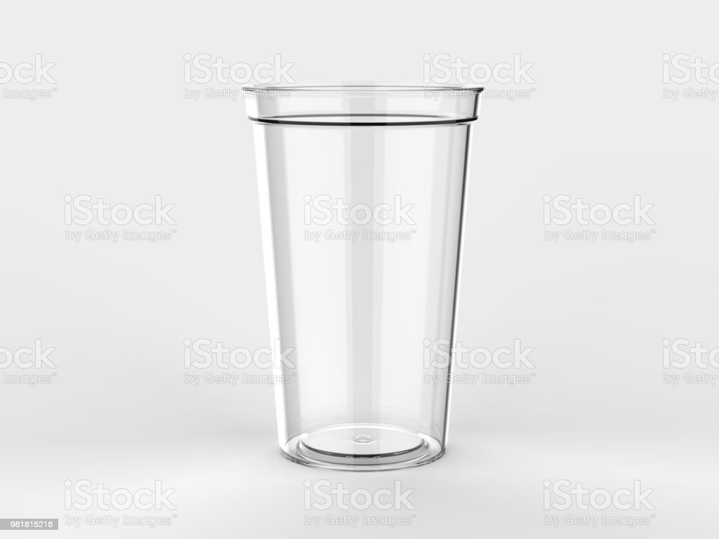 Blank Promotional Stadium transparent Cup For Branding and mock up. 3d rendering illustration. stock photo