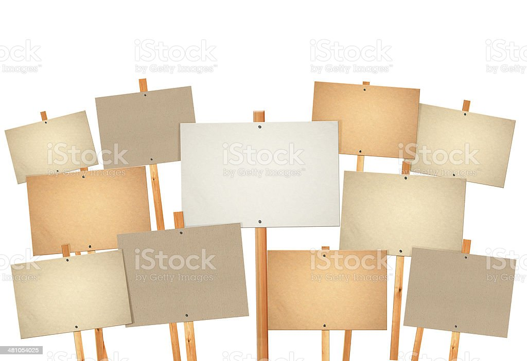 blank protest sign board stock photo
