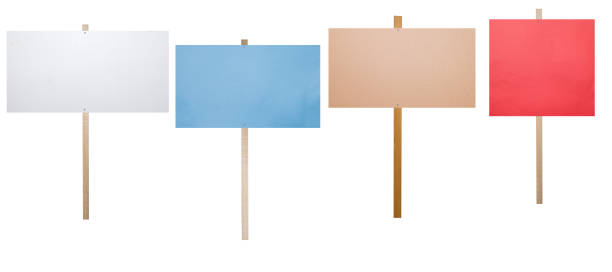 blank protest signs isolated on white stock photo