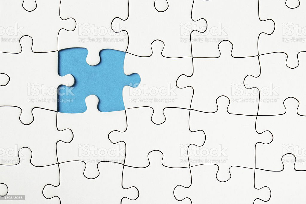 Blank Puzzle with missing piece royalty-free stock photo