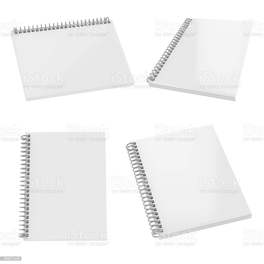 Blank realistic spiral notepad set isolated on white. stock photo