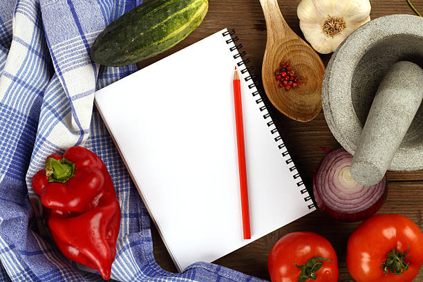blank recipe book stock photo
