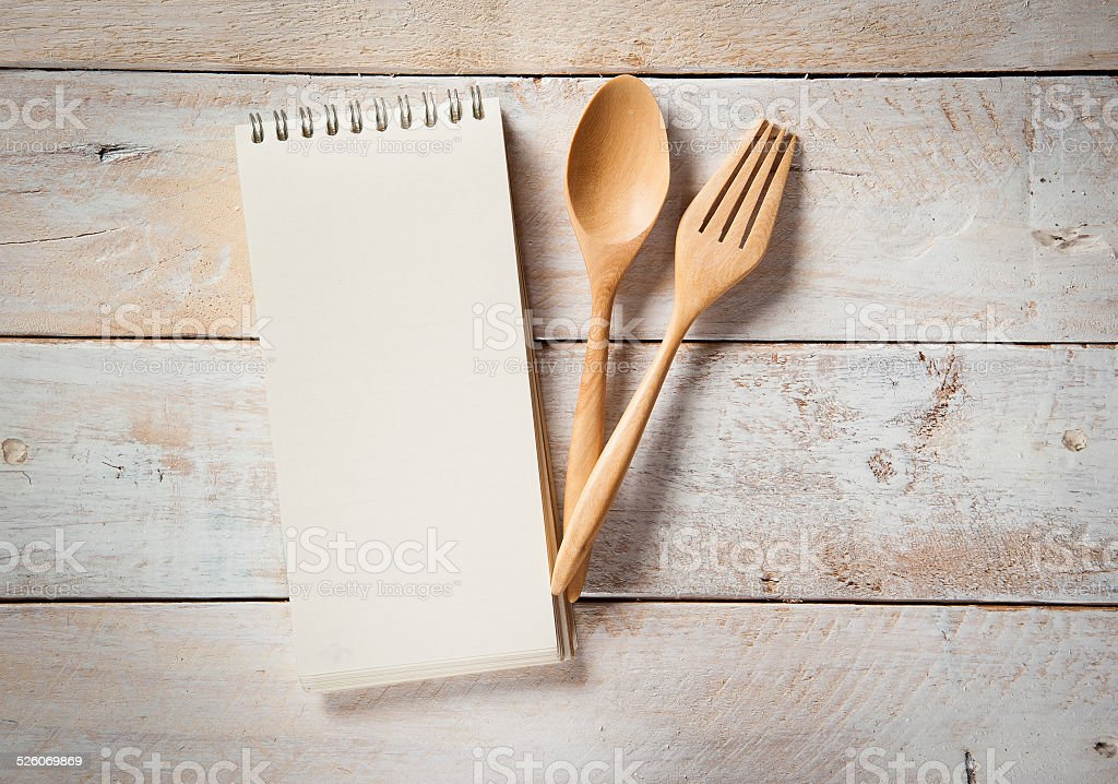 blank recipe book stock photo