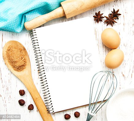 istock Blank recipe book with cooking utensils, spices and eggs 470482454
