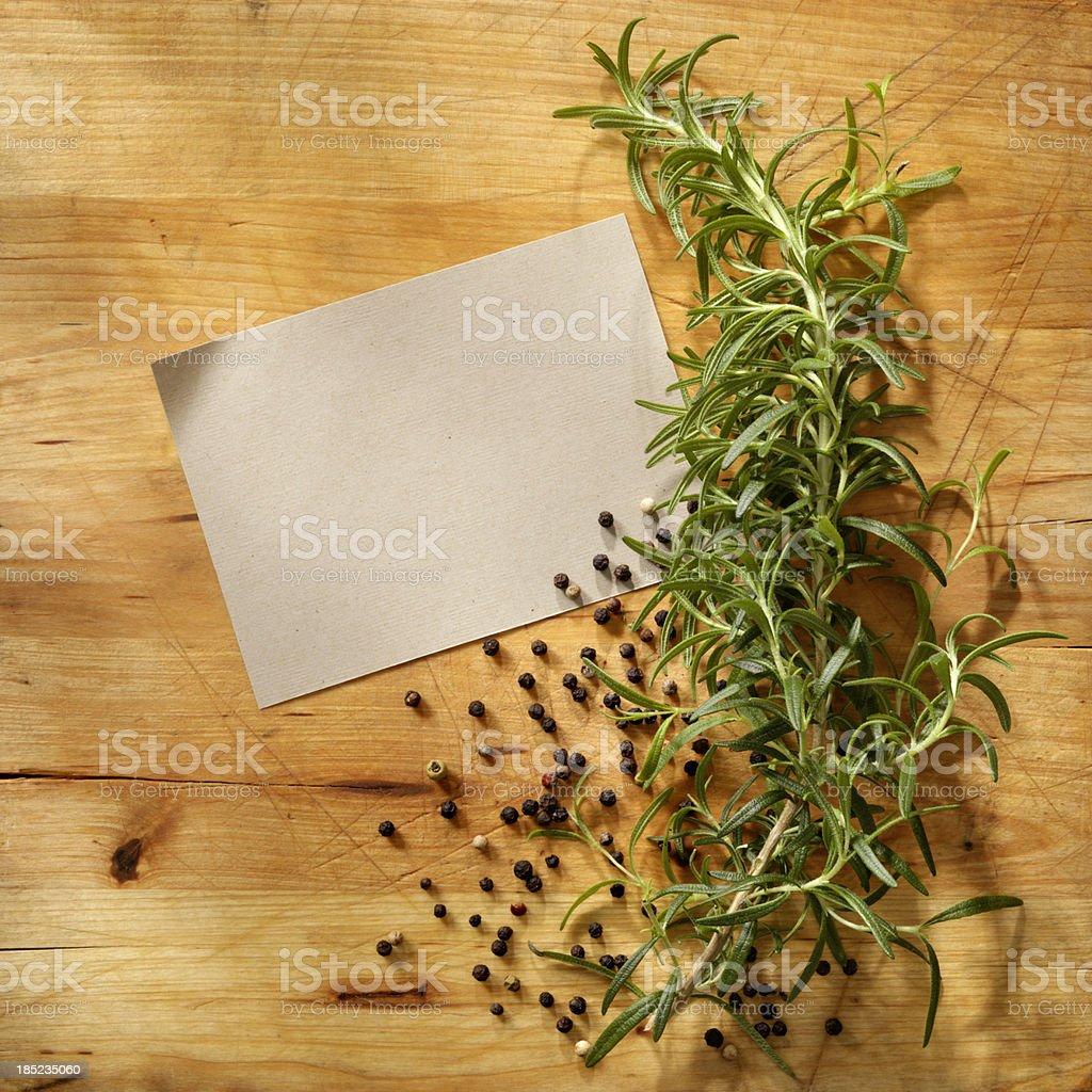 Blank Recipe with Fresh Herbs royalty-free stock photo