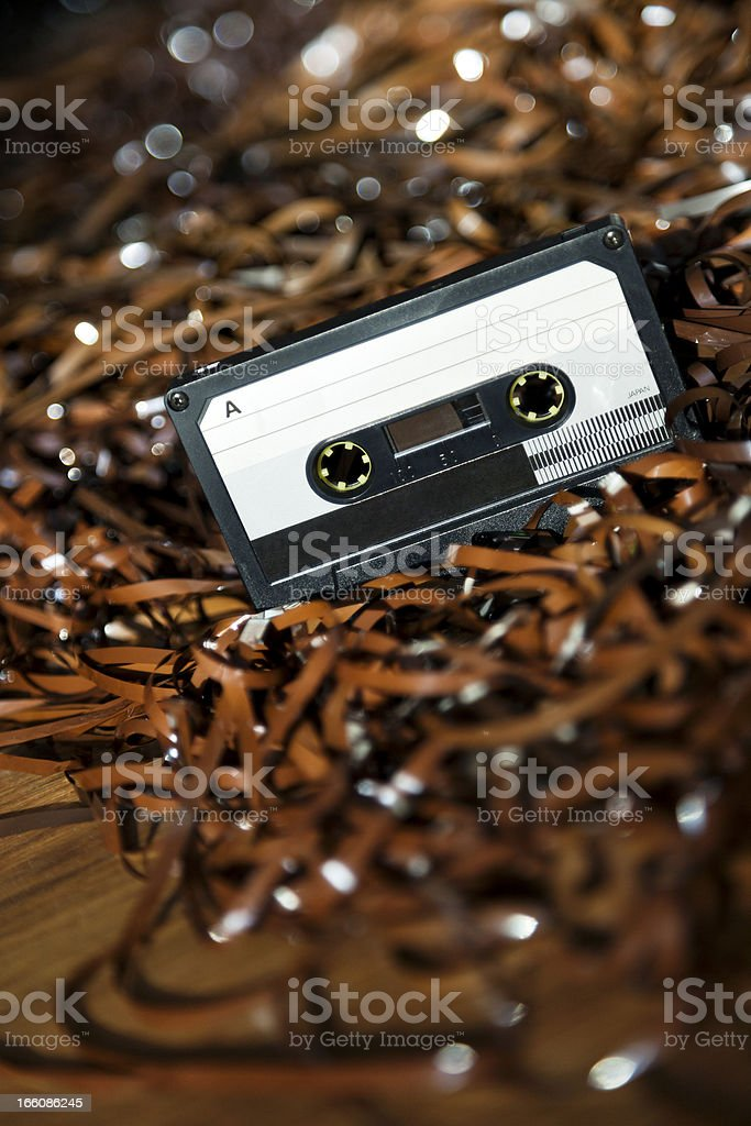 Blank Recordable Audio Cassette on Magnetic Tape - Selective Focus royalty-free stock photo