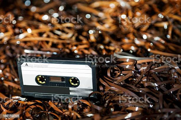 Blank Recordable Audio Cassette On Magnetic Tape Selective Focus Stock Photo - Download Image Now