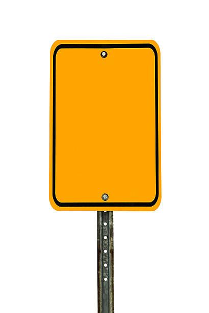 Blank Rectangular Caution Sign stock photo