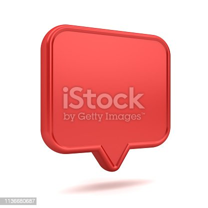 1125351850 istock photo Blank red 3d speech bubble pin icon isolated on white background with shadow 3D rendering 1136680687