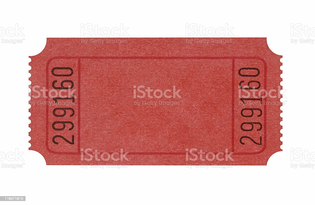 Blank red admission ticket stock photo
