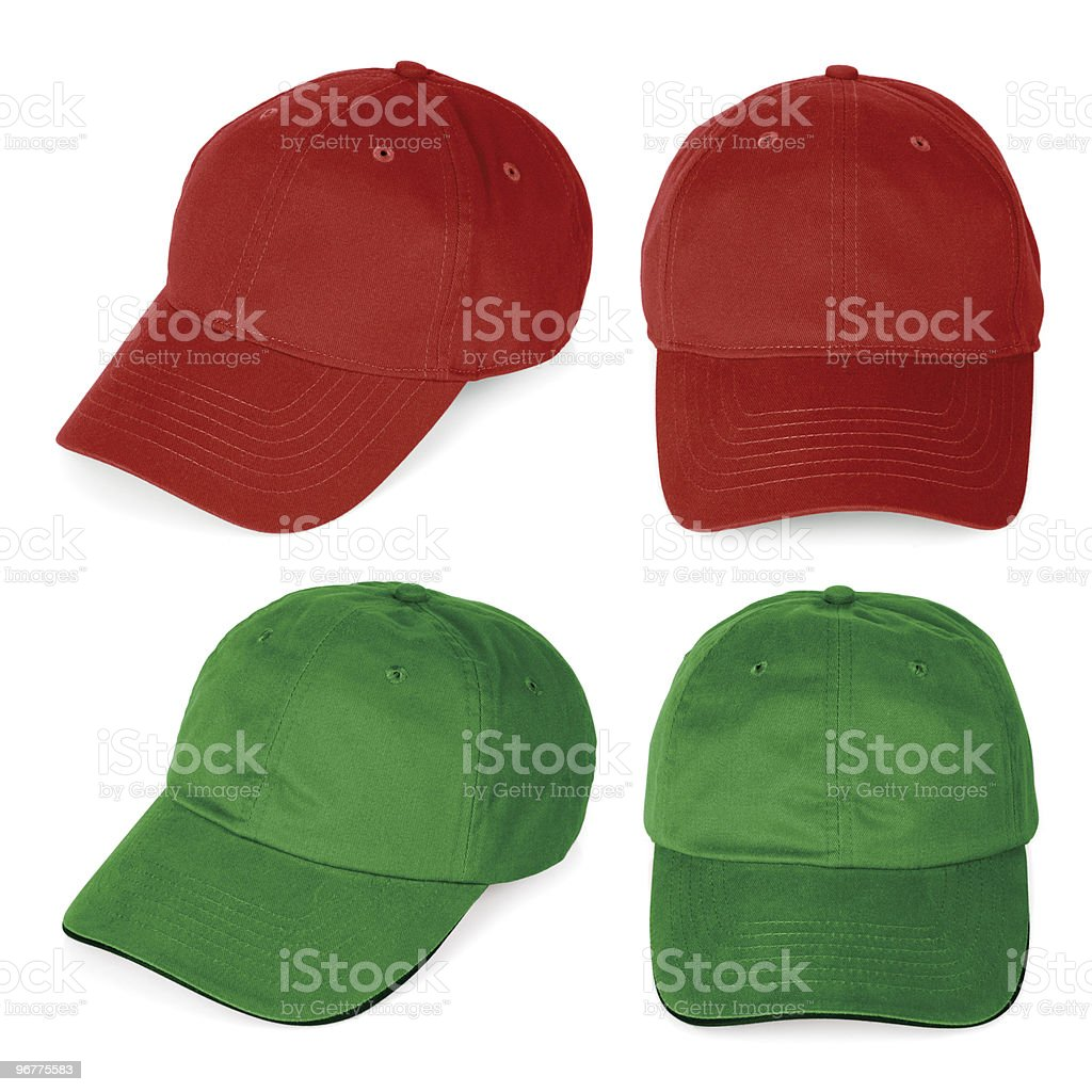 Blank red and green baseball caps stock photo
