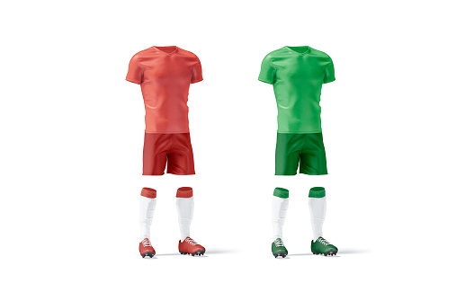 Blank red and green soccer uniform mockup set, side view