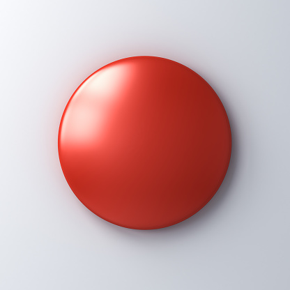 Blank red badge button on white wall background with shadow 3D rendering