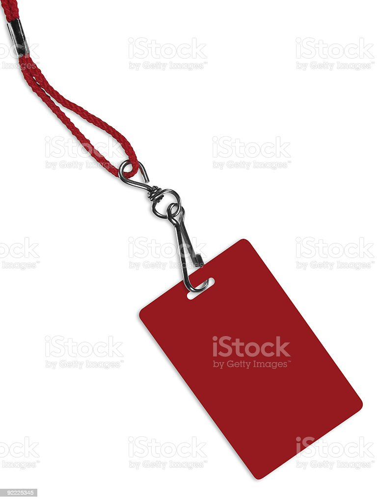 Blank red badge with copy space (+ clipping path) stock photo