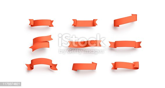 Blank red banderole mock up set, isolated, different types, 3d rendering. Empty orange pennant mockup. Clear curl streamer for aids or guarantee template.