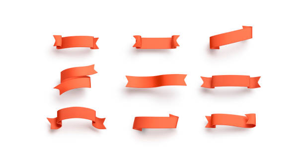 blank red banderole mock up set, isolated - ribbon zdjęcia i obrazy z banku zdjęć