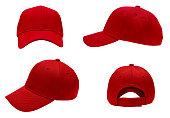 istock blank red baseball cap 4 view 846650986