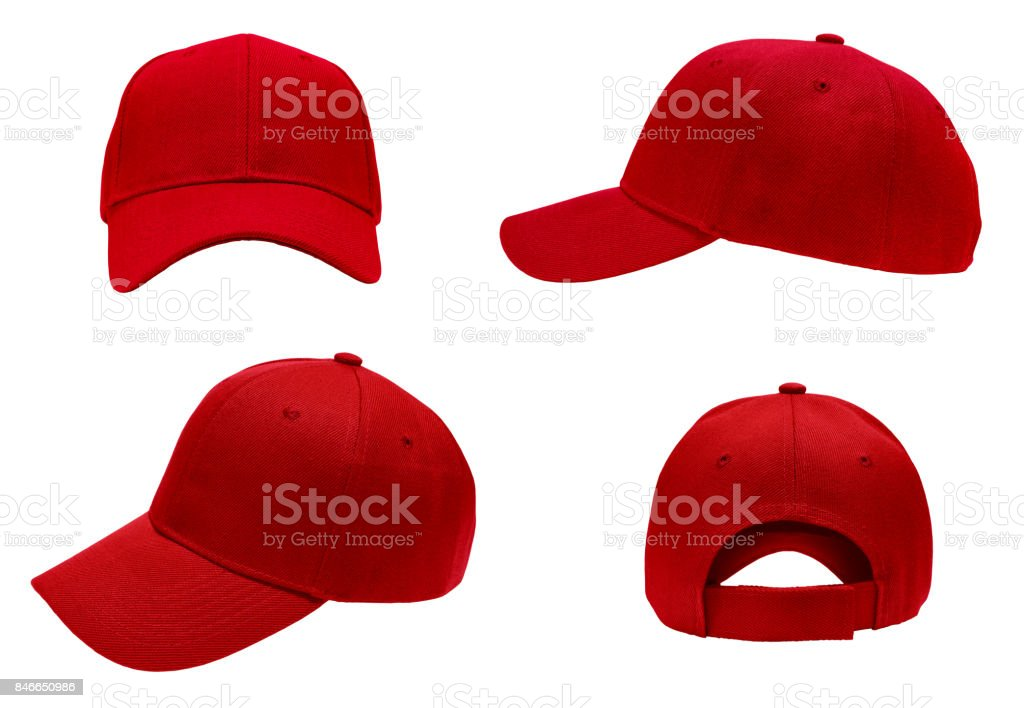 blank red baseball cap 4 view stock photo