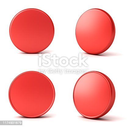 1141440440 istock photo Blank red button or badge isolated on white background with shadow 1174931879