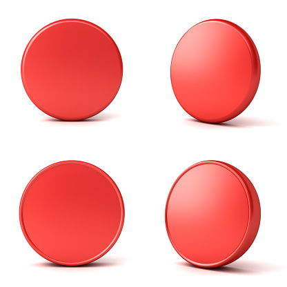 istock Blank red button or badge isolated on white background with shadow 1174931879