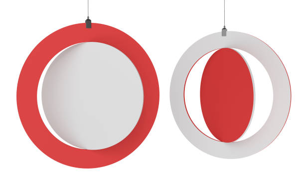 Blank Red Circle Banner stock photo