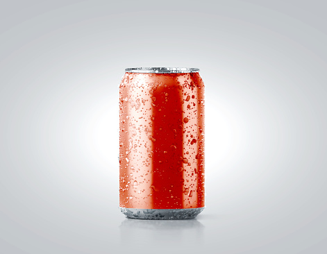 Blank red cold aluminium soda can mockup with drops, 330 ml, 3d rendering. Empty fresh fizzy pop packing mock up with condensate, isolated on white. Canned dripping drink template. Cool tin package.