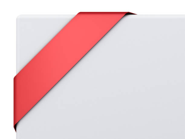leere rote ecke band banner isoliert auf weißem hintergrund - bandanzeige stock-fotos und bilder