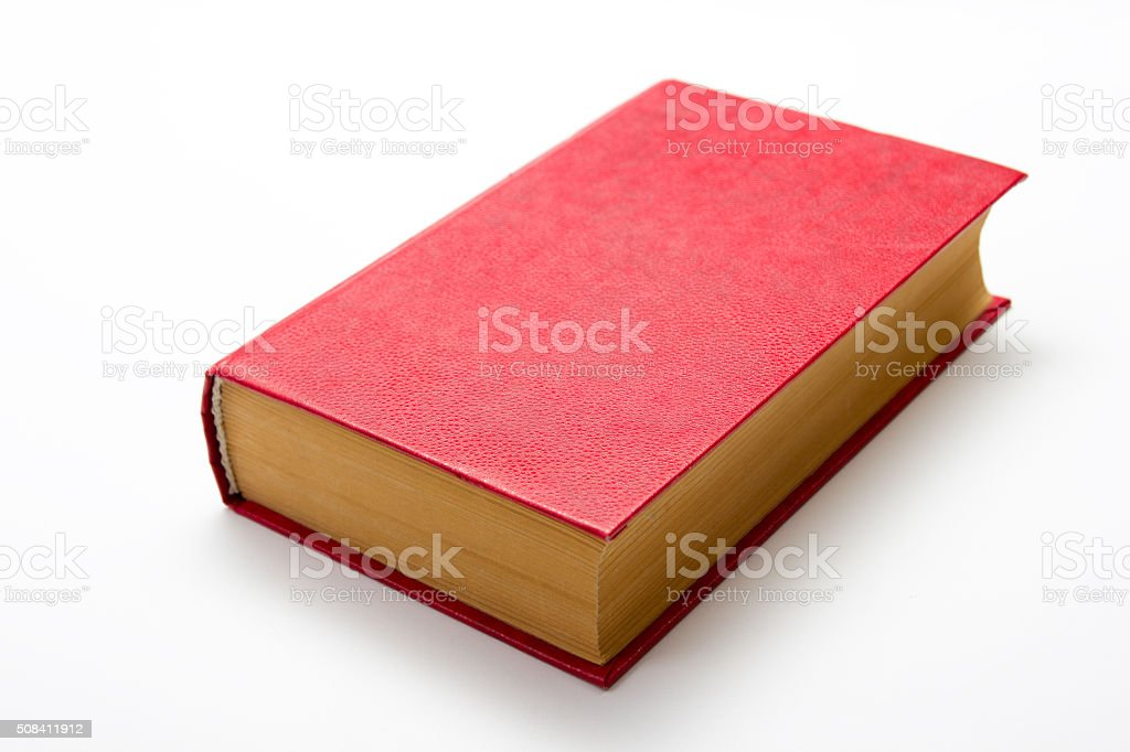 Blank red hardcover book on white background with copy space stock photo