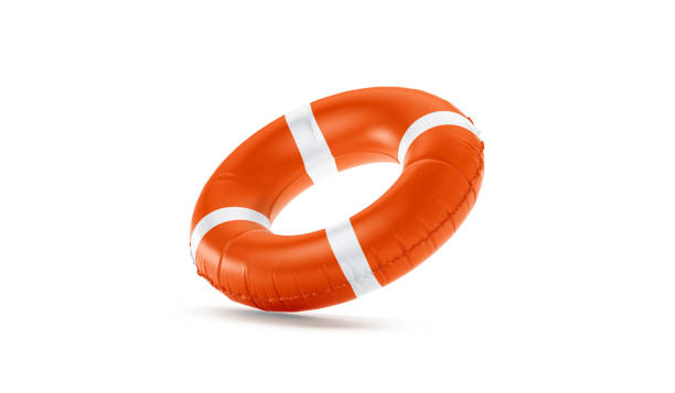 Blank red lifebuoy no gravity mock up isolated, Blank red lifebuoy no gravity mock up isolated, 3d rendering. Empty flotation ring mockup. Clear round lifesaver for flotation on water. Sos inflatable circular template. buoy stock pictures, royalty-free photos & images