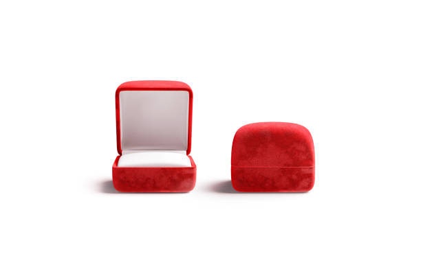 Blank red opened and closed ring box mockup, front view stock photo
