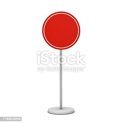 1094574474 istock photo Blank red round sign with pole stand Blank mock up information signage board or advertising round billboard isolated on white background 1163649264