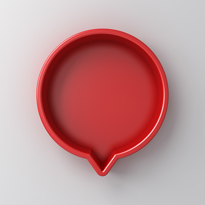 Blank red round social media notification or speech bubble sign pin isolated on white wall background with shadow 3D rendering