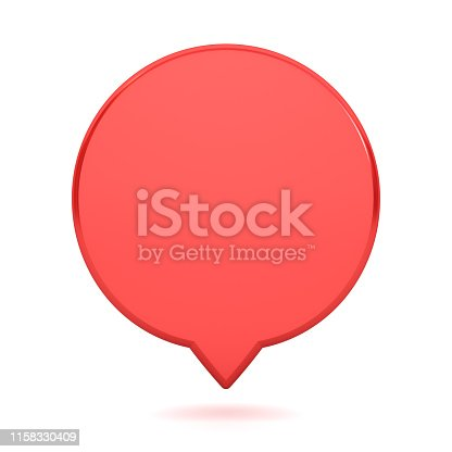 istock Blank red round speech bubble pin isolated on white background with shadow 1158330409