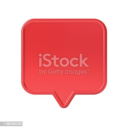1125351850 istock photo Blank red social media notification speech bubble pin isolated on white background 1166284028