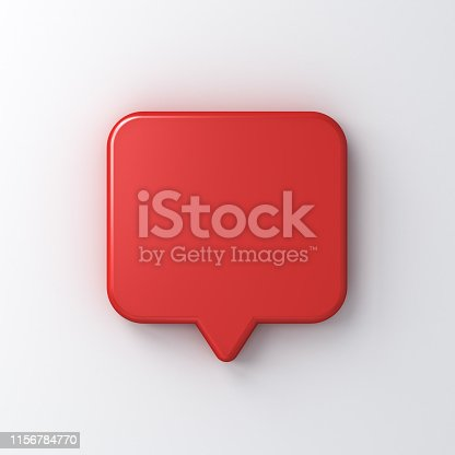 1125351850istockphoto Blank red speech bubble pin isolated on white background with shadow 3D rendering 1156784770