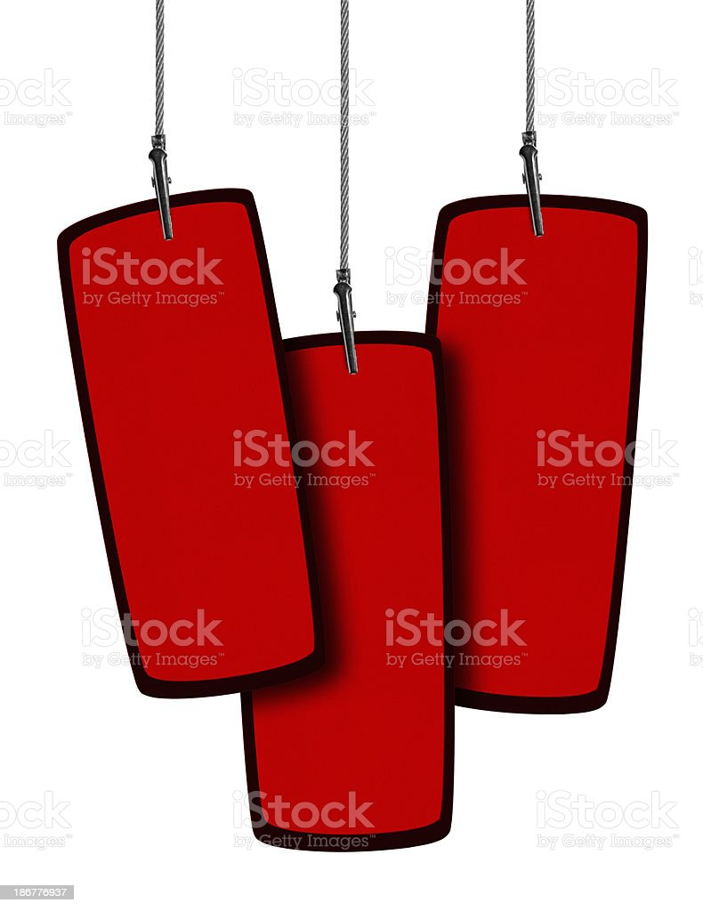 Blank Red Tag  in Wire Clamp 3 (Clipping Path) royalty-free stock photo