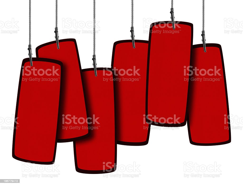 Blank Red Tag  in Wire Clamp 6 (Clipping Path) royalty-free stock photo