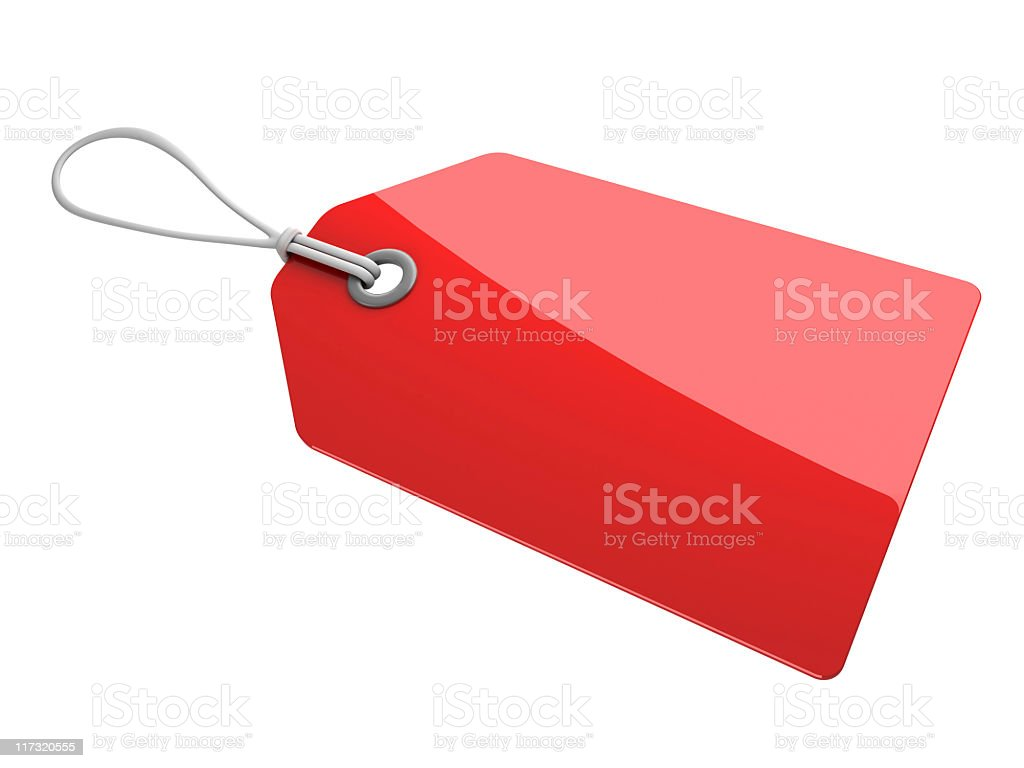 blanko red tag stock photo