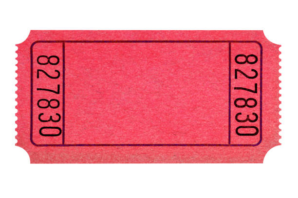 blank red ticket isolated - biglietto del cinema foto e immagini stock