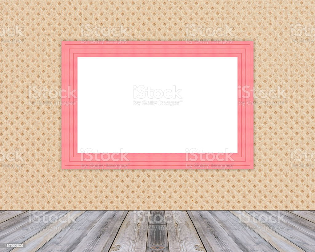 Blank Red Wooden Photo Frame Leaning At Cloth Wall Stock Photo ...