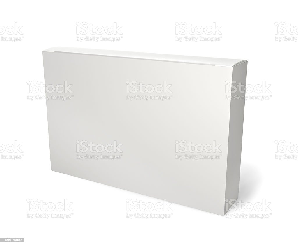 Blank retail product package on white stock photo