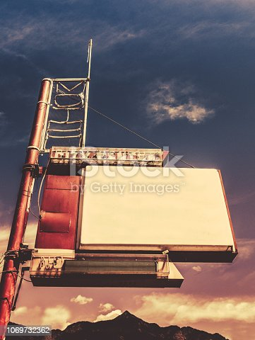 Retro Vintage Image Of An Old Motel-Style Sign In Small Town USA Blank For Your Text